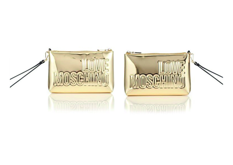 Moschino golden clutch bag