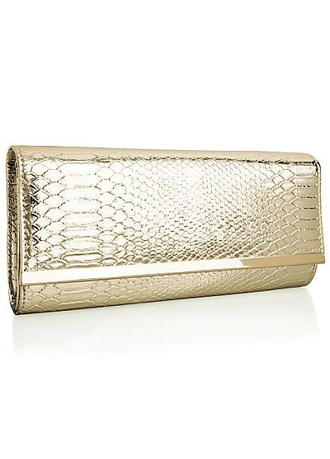 Together Kaleidoscope gold snake clutch bag